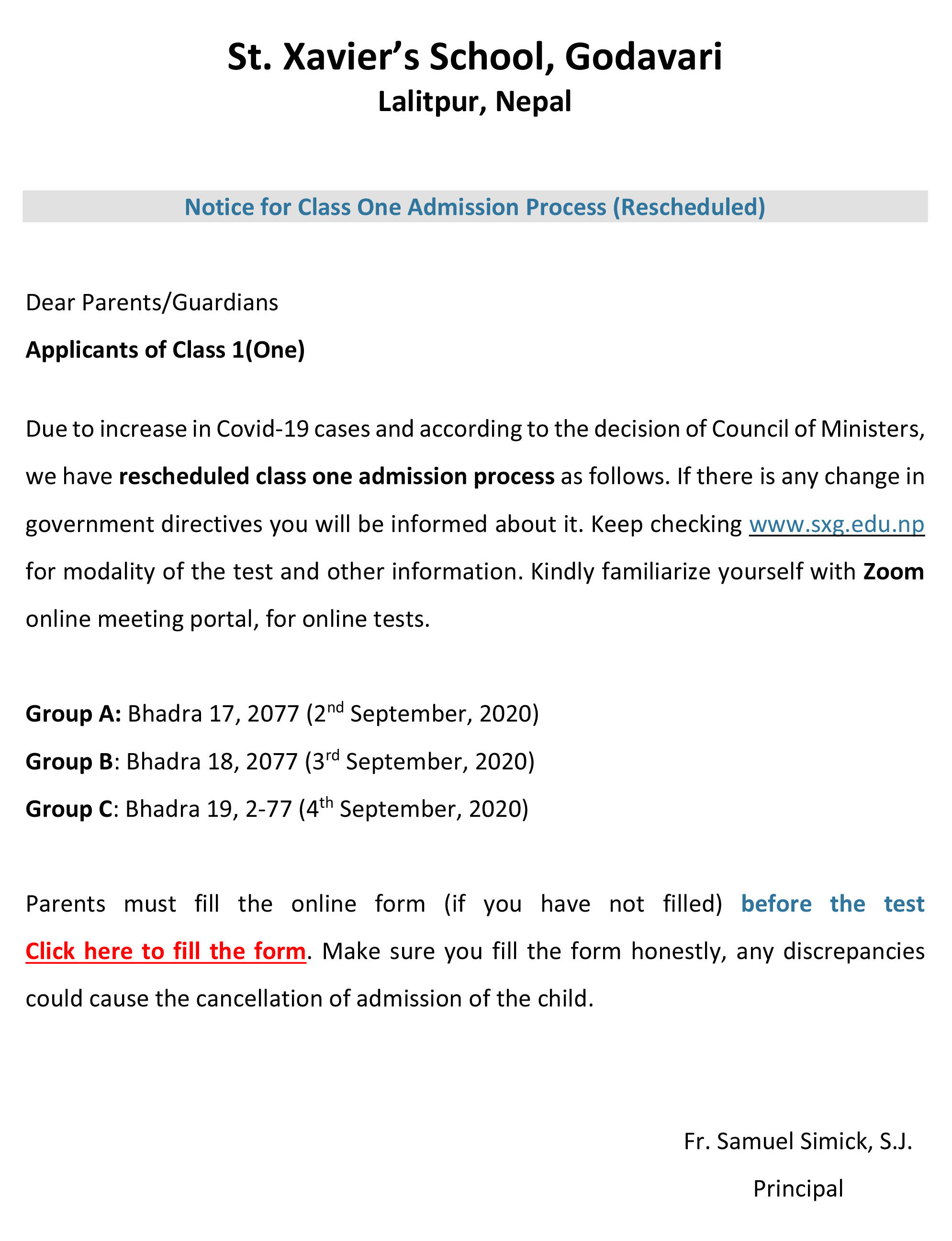 Notice for Class One Admission Process (Rescheduled)
