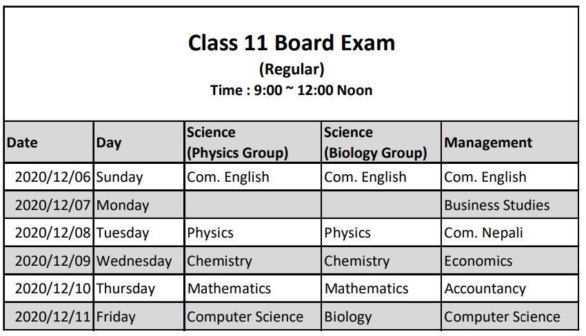 Class 11 NEB Exam Routine and Safety Protocol